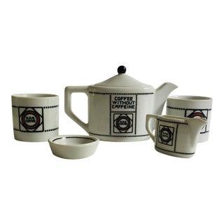 Modern Style Bavarian Porcelain Coffee for 2 Coffee Pot , Sugar , Cream and 2 Cups Set For Sale