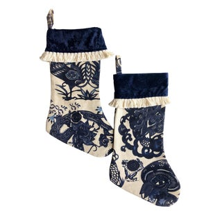 Chinoiserie Christmas Stockings With Fringe - A Pair For Sale