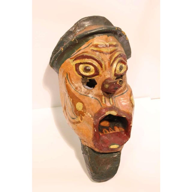 Early 20th C. Vintage Paper Mâché Carnival Head Mask For Sale - Image 4 of 4