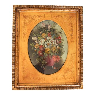 Floral Oil Painting in Giltwood Frame With Beveled Glass For Sale