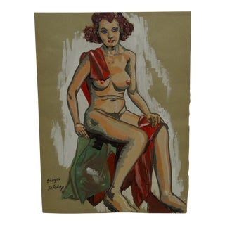 "1947 Mid-Century Modern Original Painting on Paper, ""Sitting Nude with Red Sash"" by Tom Sturges Jr"