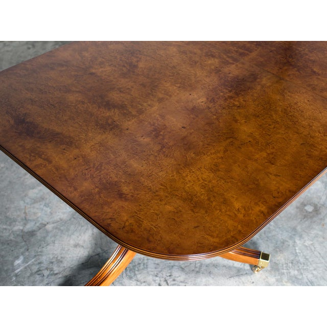 Burl Walnut Sheraton Style Double Pedestal Dining Table, Two Leaves, Hand Made in England - Image 4 of 11