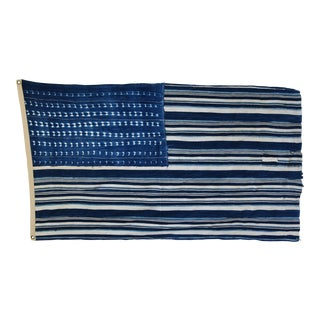 "Boho Chic Indigo Blue & White Flag From African Textiles 61"" X 36"" For Sale"
