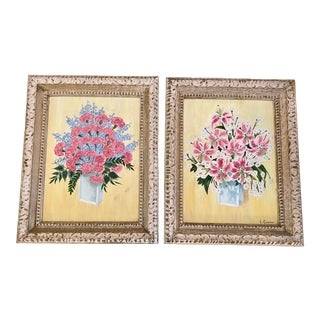 Vintage Floral Oil Paintings, Pair For Sale