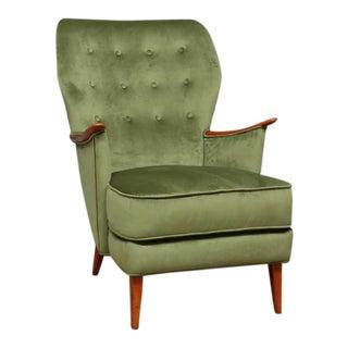 Scandinavian Green Velvet Wingback Chair