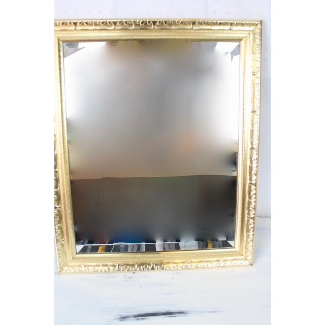Contemporary Contemporary Beveled Gold Nugget Framed Mirror For Sale - Image 3 of 5