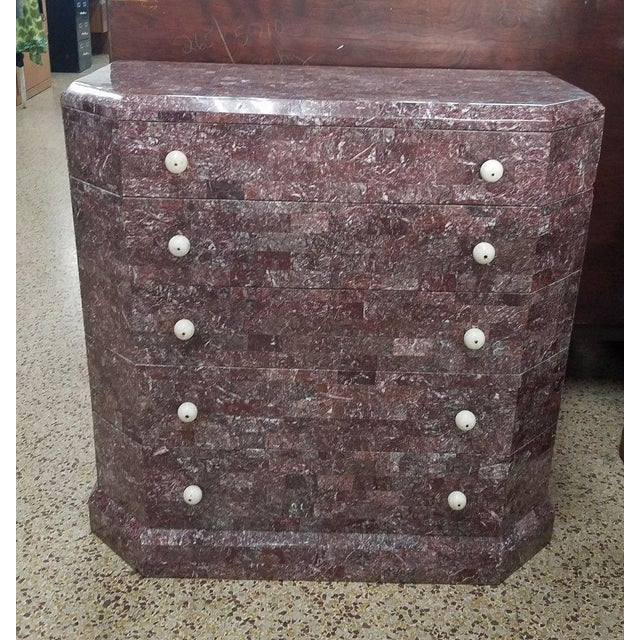 Art Deco Stylized Maitland Smith Lilac Tessellated Stone Chest of Drawers For Sale - Image 11 of 11