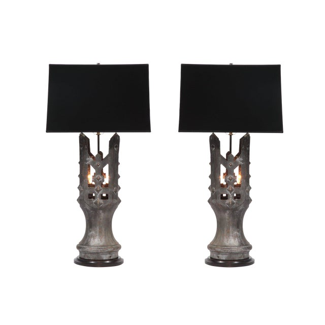 Pair of 1930s Solid Bronze Table Lamps For Sale