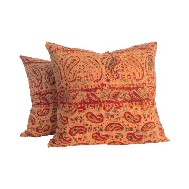 Vintage Block Printed Kantha Quilt Pillows - Pair For Sale