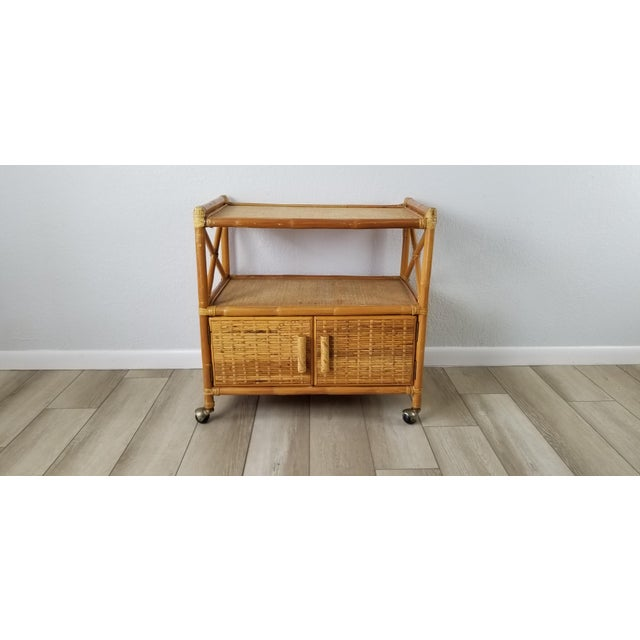 Mid-Century Modern Vintage Two Tier Rolling Bar Cart For Sale - Image 3 of 10