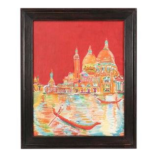 Acrylic Painting French Artist Roland David For Sale