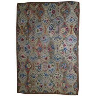 """1900s Antique American Hooked Rug- 6' x 8'10"""" For Sale"""