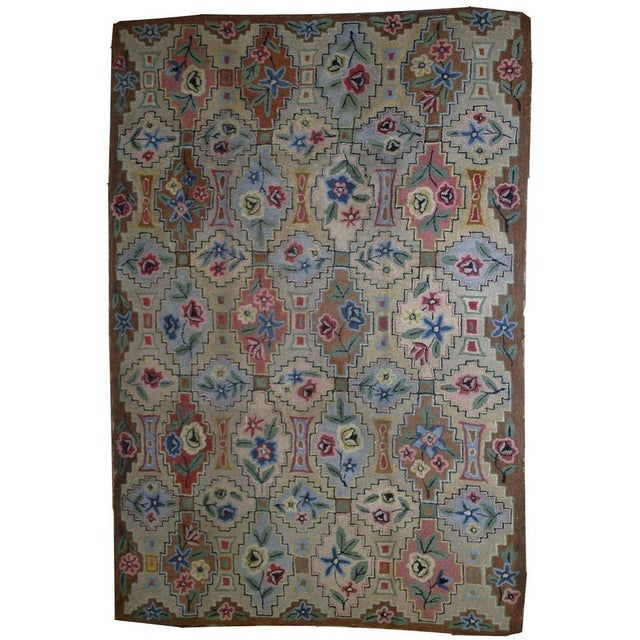 "1900s Antique American Hooked Rug- 6' x 8'10"" For Sale"