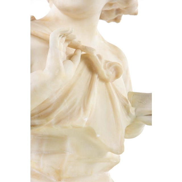 19th Century Antique Alabaster Sculpture of a Young Painter For Sale - Image 4 of 9
