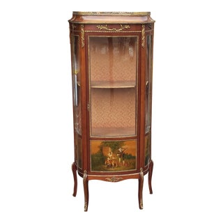 1950s Vernis Martin Walnut Style Hand Painted Louis XV Ormolu Mounted Vitrine Curio Cabinet For Sale