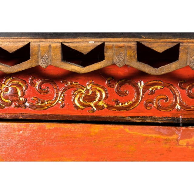 Red Painted Chinoiserie Armoire Ca. 1880 For Sale - Image 8 of 10