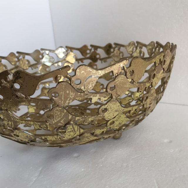 Gold Groovy Metal Key Decor Bowl For Sale - Image 8 of 9