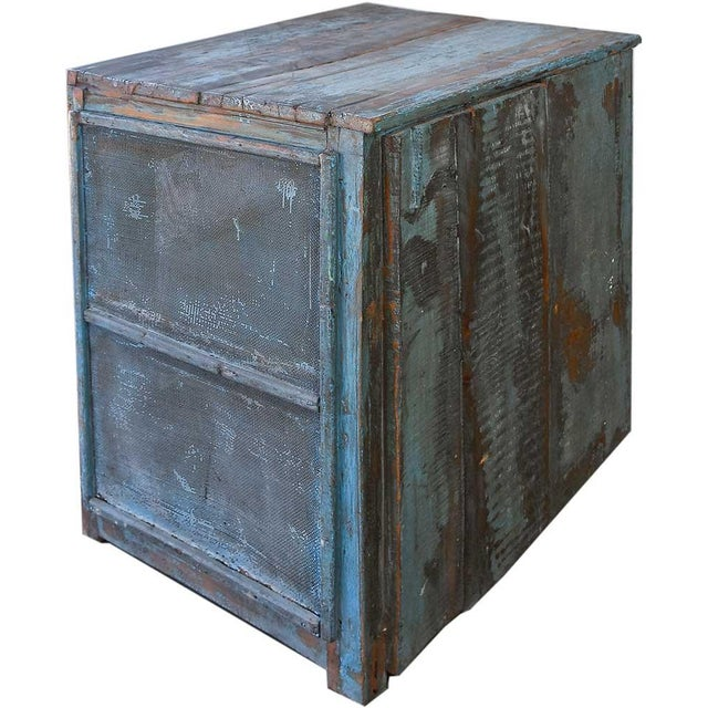 Light Blue Mesh Wood Cabinet - Image 4 of 4