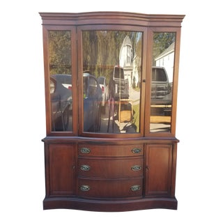 1950s Bassett Furniture Bow Front China Cabinet For Sale