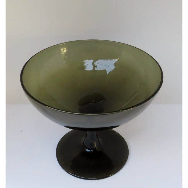 Italian vintage dark olive smoke glass coupe on a solid flared stem. Can appear as gray smoke in certain lighting....