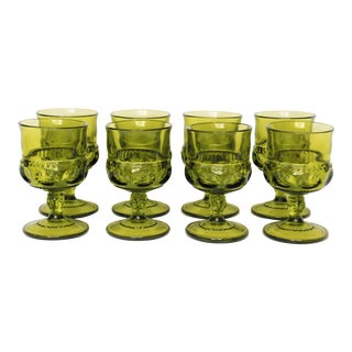 Mid-Century Green Cordial Glasses - Set of 8