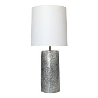 Monolithic Italian Aluminum Brutalist Table Lamp For Sale