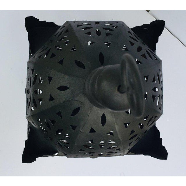 Early 21st Century Large Moroccan Hurricane Metal Candle Lantern For Sale - Image 5 of 13