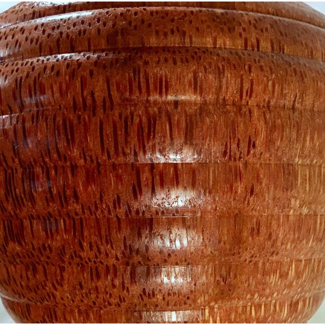 Boho Chic 1991 Boho Chic Large Artisan Turned Bloodwood Palm Beehive Vase by John Penrod (Signed) For Sale - Image 3 of 13