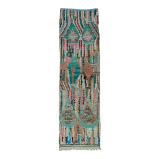 Vintage Aqua and Green Tribal Runner For Sale