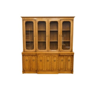 "20th Century Italian Century Furniture Neoclassical Tuscan 73"" Buffet With Lighted China Cabinet For Sale"