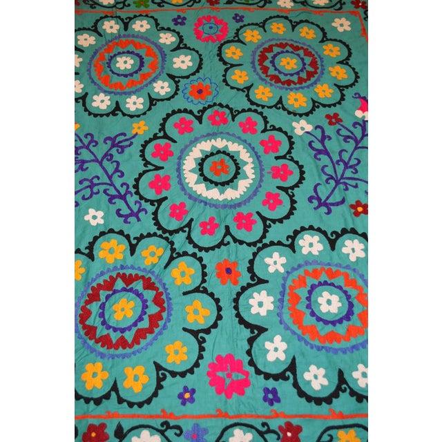 Boho Chic Vintage Uzbeki Suzani Turquoise Textile - 5'x6'2″ For Sale - Image 3 of 5
