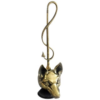 Brass Doorstop in Form of a Fox For Sale