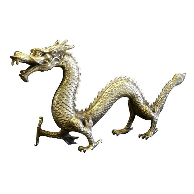 Chinese Handmade Silver Dragon Fengshui Figure Chairish