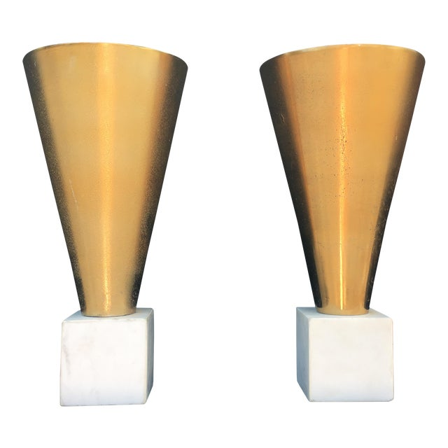 Gold Metal Vases on Marble Bases - a Pair For Sale