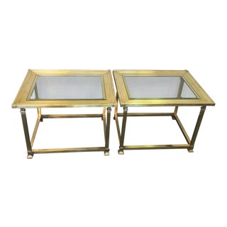 Vintage Mastercraft Brass Hollywood Regency End Tables - a Pair For Sale