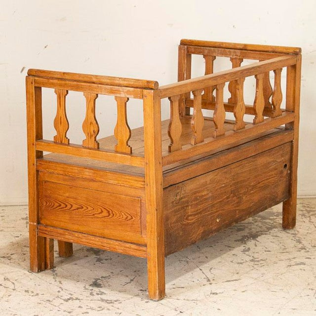Mid 19th Century Antique Pine Bench With Storage, Sweden For Sale - Image 4 of 7