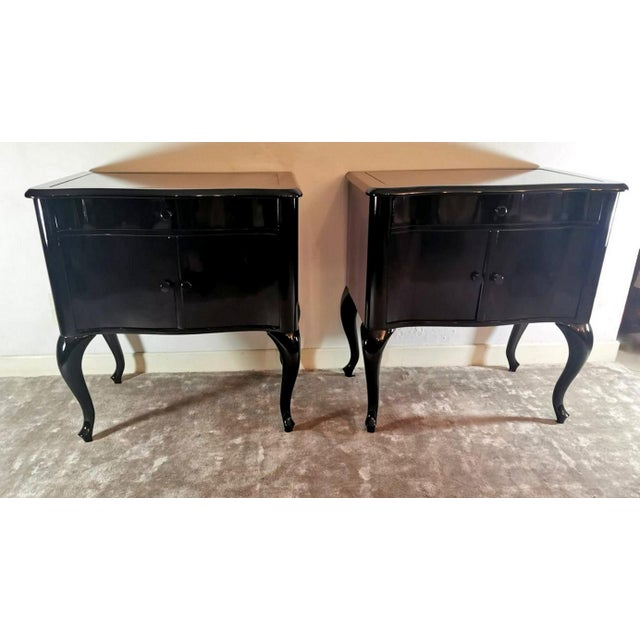 Edwardian Black Mahogany Nightstands - a Pair For Sale - Image 13 of 13