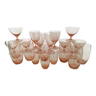Vintage Mid-Century Blush Pink Beverage/Glassware - 20 Piece Set For Sale