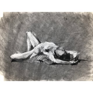 """Breathe Open"" by Artist David O. Smith, Contemporary Figure Drawing in Charcoal For Sale"