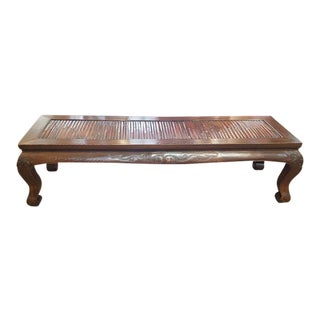 Mid 20th Century Hand Carved Elm Wood Monk's Bed / Bench For Sale