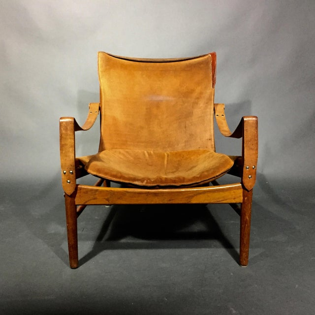 "Mid-Century Modern Hans Olsen ""Antilop"" Suede and Oak Safari Chair For Sale - Image 3 of 11"