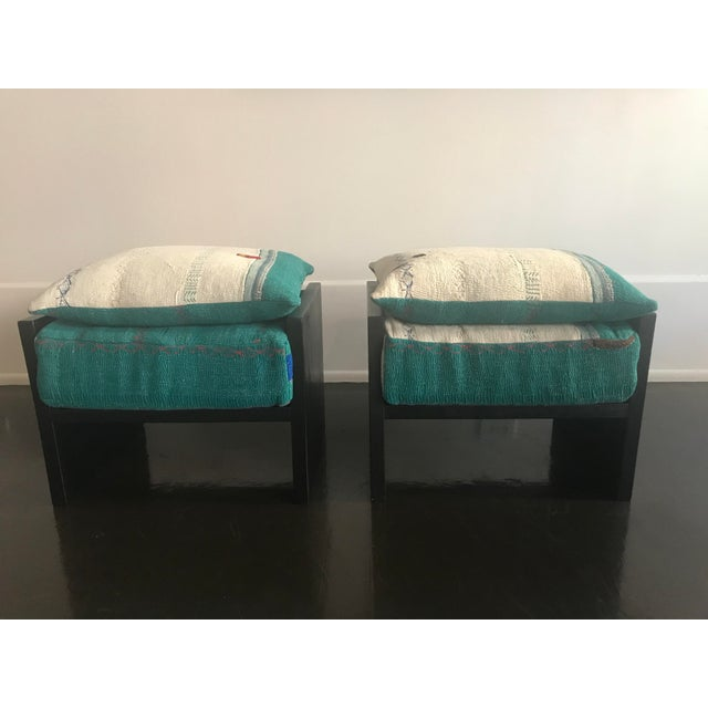 Modern Custom Katha Quilt Pillows Stool Set- A Pair For Sale - Image 13 of 13