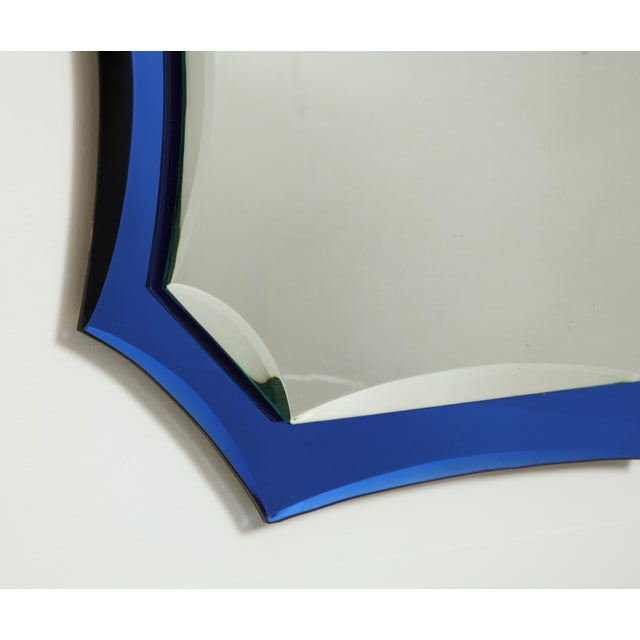 Mid-Century Modern Vintage Mid-Century Modern Mirror With Cobalt Blue Borders For Sale - Image 3 of 7