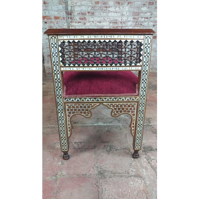 Fabulous Syrian Bench Mother of Pearl Inlaid W/Burgundy Upholstery For Sale In Los Angeles - Image 6 of 10