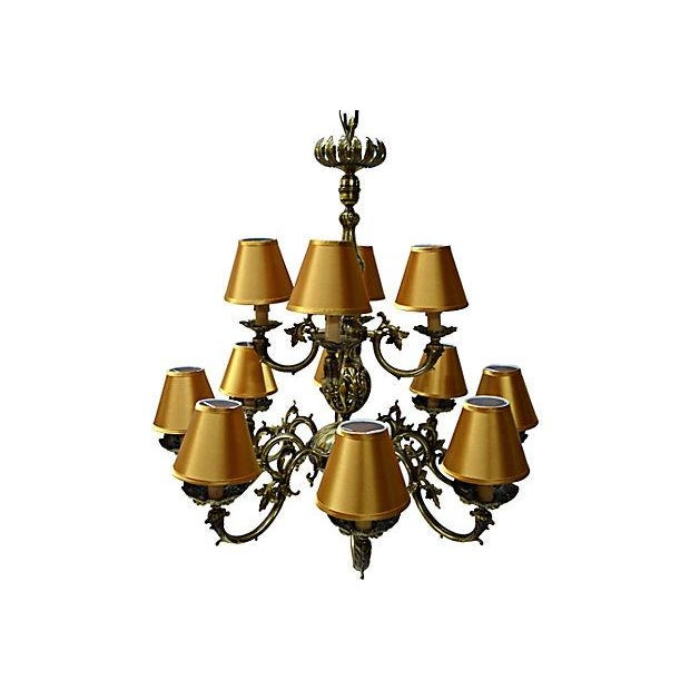 12 Arm Dutch Brass Chandelier - Image 3 of 9