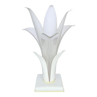 1980s Acrylic Floriform Rougier Style Table Lamp For Sale