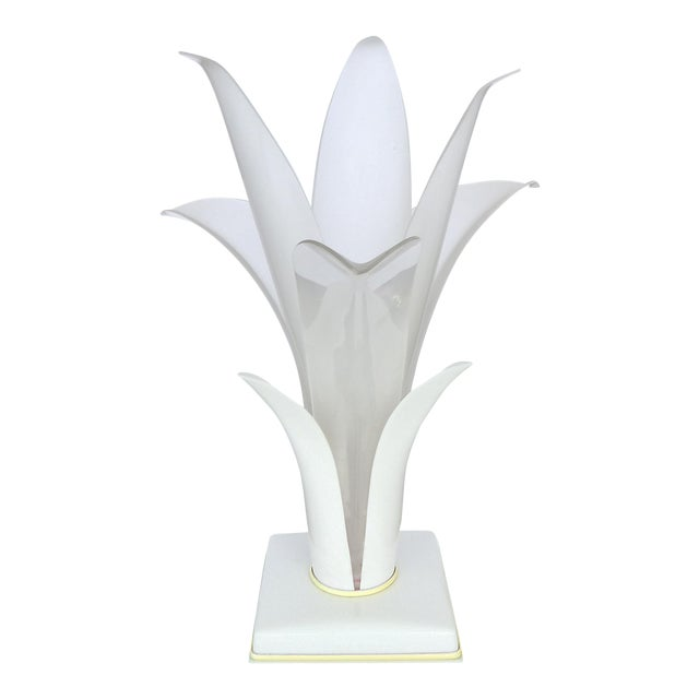 1980s Acrylic Floriform Rougier Style Table Lamp - Image 1 of 7