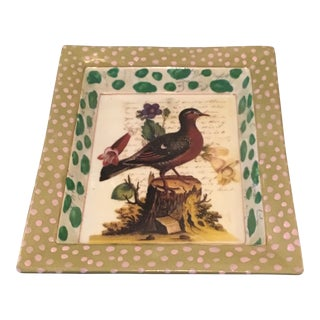 John Darian Green Bird Decoupage Tray For Sale