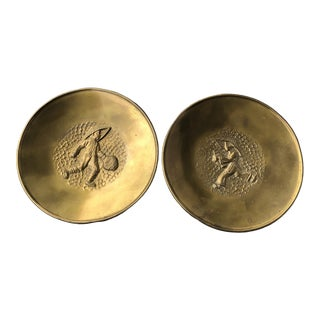 Chinoiserie Mid-Century Modern Hammered Brass Boy Girl Plates - a Pair For Sale