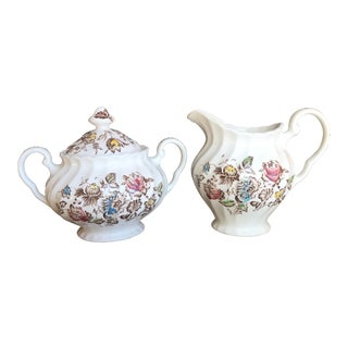Staffordshire Bouquet England Cream & Sugar Set